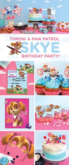 Planning a Skye PAW Patrol birthday party for your preschooler? This simple, step-by-step guide will transform your home into a cloud-, helicopter-, and pink-and-blue-filled wonderland! Make your child's wishes come true with the PAW Patrol birthday party Birthday Party Games, 4th Birthday Parties, Birthday Celebration, Birthday Wishes, Birthday Ideas, Third Birthday, Birthday Recipes, Paw Patrol Birthday Girl, Girl Paw Patrol Party