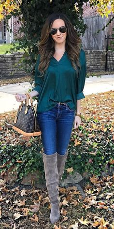 #winter #outfits dark-green long-sleeve blouse and blue denim pants outfit