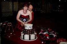 Steampunk Bride and Groom Cut Cake