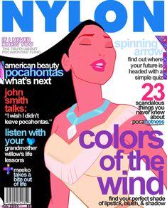 Disney Princesses As Magazine Cover Models (Pocahontas for Nylon and John Smith for Details) as seen: http://geekologie.com/2012/01/disney-princes-as-mens-magazine-cover-mo.php