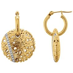14K Yellow 1/8 CTW Diamond Nest Hoop Earrings