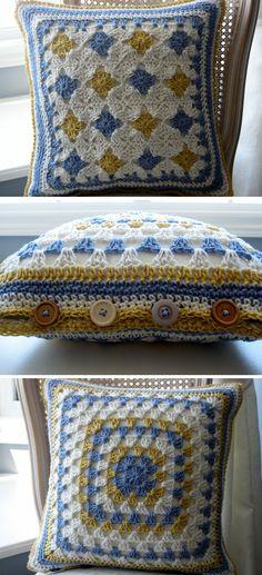 Inspiration :: Granny square pillow cover with button closure . . . . ღTrish W ~ http://www.pinterest.com/trishw/ . . . . #crochet