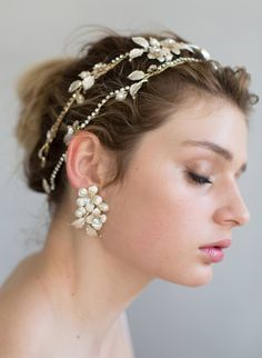 Rose and leaf cluster earrings - Style #793
