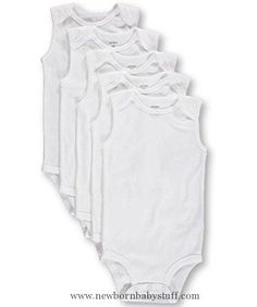 Baby Boy Clothes Carters Basic White SLEEVELESS Bodysuits (18 Months) 5 Pack
