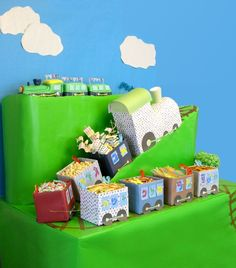DIY party train filled with candy & snacks - from http://blowoutparty.com/blog/2011/02/aleph-bet-train-birthday-party/