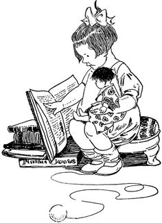 Clip art of Black and white outline of a student reading a