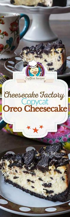 Do you love the Cheesecake Factory Oreo Cheesecake? You can recreate this famous cheesecake dessert recipe with this copycat. The crust is make from Oreo cookies! Recreate the famous Oreo Cheese from the Cheesecake Factory at home. Brownie Desserts, Mini Desserts, Cheesecake Desserts, Easy Desserts, Delicious Desserts, Dessert Recipes, Yummy Food, Yellow Desserts, How To Make Cheesecake