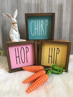 Your place to buy and sell all things handmade Rae Dunn Inspired Easter Wooden Signs // Spring Wooden Signs by SouthernLifeCrafts on Etsy Easter Projects, Easter Crafts, Easter Decor, Easter Ideas, Easter Dyi, Easter Table, Easter Party, Spring Crafts, Holiday Crafts
