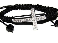 Sideways cross macrame bracelet black satin by TheRottenRooster,