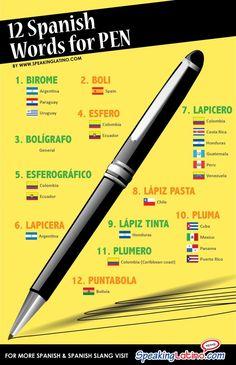 Esto demuestra doce maneras diferentes de decir la pluma en español. creo que es cómico que hay diferente maneras de decir una palabra tan simple.