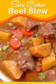 Amazingly simple, super tasty beef stew recipe in a slow cooker! With crockpot, stove-top, pressure cooker, Tasty Beef Stew Recipe, Easy Stew Recipes, Beef Stew Crockpot Easy, Crock Pot Slow Cooker, Beef Recipes, Crock Pots, Cooker Recipes, Cooking, Classic