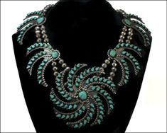 Vintage Navajo Necklace | Artist unknown.  Silver and turquoise