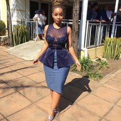 15 Shweshwe staples style 2018 fashionable and comfortable - African Bridesmaid Dresses, African Wedding Attire, Latest African Fashion Dresses, African Dresses For Women, African Attire, Xhosa Attire, Seshweshwe Dresses, South African Traditional Dresses, Gowns