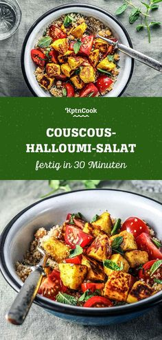 Couscous-Halloumi-SalatYou can find Abendessen vegetarisch and more on our website. Vegetarian Couscous Recipe, Couscous Salad Recipes, Easy Salads, Healthy Salad Recipes, Vegetarian Recipes, Easy Meals, Big Mc, Halloumi Salad, Vegetarian