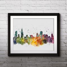 Chicago USA Skyline poster, Art Print, Watercolor, painting, Wall Home Decor