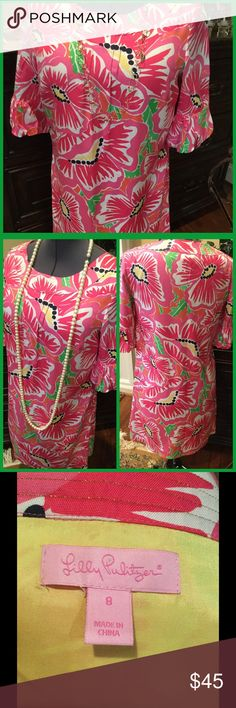 💕♦️Super cute Lily Pulitzer shift dress Lily Pulitzer cheerful shift dress in pink and green with ruffled three quarter length sleeve and boat style neckline.  Fully lined. Lilly Pulitzer Dresses Mini