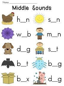 10 vowel (middle) sounds worksheets with cute pictures that build in level to help your students master the vowel sounds! Students look at the pic. English Worksheets For Kindergarten, Reading Worksheets, Kindergarten Literacy, Preschool Worksheets, Preschool Learning, Preschool Activities, Literacy Centers, Phonics Reading, Teaching Phonics