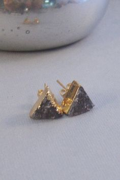 Lavender Grey Druzy Studs,Earrings,Gold Earrings,Triangle Earrings,Purple,Purple Druzy,Aqua Geode,LavendePost Earring,Triangle Druzy,Chevron