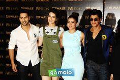 Varun Dhawan, Kriti Sanon, Kajol & Shah Rukh Khan at the Launch of 'Dilwale' song 'Manma Emotion  Jaage Re' at PVR ICON in Versova, Mumbai