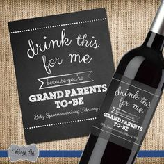Pregnancy Announcement Grandparents, Pregnancy Announcement to Parents Wine Label, Announcing Pregnancy Cards, Pregnancy Announcement Family Grandparents to be pregnancy announcement. This custom wine label makes a great gift and is a perfect way to announce your pregnancy. HOW IT WORKS ------------------------------------------------------------------------ 1. Each label measures 4x5 and is printed on a glossy sticker. 2. This listing is for 1 label. You can purchase as many as you need…
