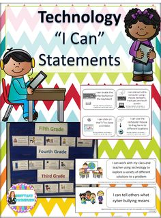 "Technology ""I Can"" Statements. Perfect for the classroom teacher who integrates technology on a regular basis. Help your students learn 21st century vocabulary. Available for every grade level K-12 plus discounted bundles for grade level ranges, ideal for computer lab teachers.$"