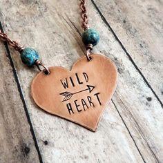 Items similar to Wild Heart Necklace - Boho Jewelry - Copper. - Items similar to Wild Heart Necklace – Boho Jewelry – Copper Heart Pendant – Hand Stamped Nec - Gypsy Jewelry, Copper Jewelry, Fine Jewelry, Jewelry Making, Jewlery, Cheap Jewelry, Cowgirl Jewelry, Dainty Jewelry, Necklaces