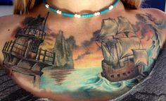 Chest piece by Damon Conklin at Super Genius  #InkedMagazine #chestpiece #ship #tattoo #tattoos #Inked #art