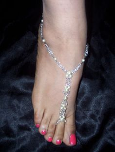 Hand Made Bridal Barefoot Sandal Beach Jewelry Anklet /Foot Thong /Toe Ring | eBay