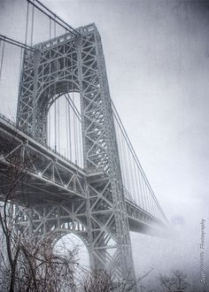 A different angle on the George Washington Bridge on a super foggy day a couple weeks back. So creepy rising out of the fog without the NY side visible. Bridges Architecture, Shopping Games, Fort Lee, Washington Heights, Manhattan Nyc, Hudson River, George Washington Bridge, Cityscapes, Planet Earth