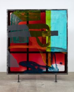 """Alex Hubbard / Front: """"[To be titled],"""" 2015. Acrylic paint, epoxy resin, fiberglass, pigmented urethane, steel, 98.25 x 89 x 4 inches"""