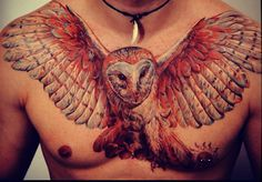owl chest tattoo - Google Search