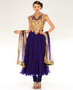 Deep Aubergine Gota Patti Embellished Kalidar Suit  by Preeti S. Kapoor