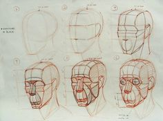 """Old head construction demo showing different stages. Building from the general…"