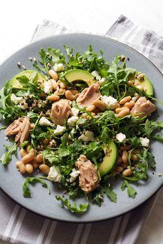 Oil Packed-Tuna, Avocado, White Bean, and Arugula Salad
