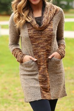 Cowl Center Sweater Tunic. Idea: turn a 3/4 sleeve top to full length long sleeves