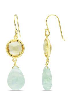 15.3ct Prehnite & Citrine 18k Gold Plated Silver Earrings