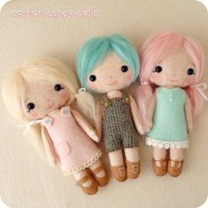 Cotton Candy Dolls pdf Pattern. Instant download e-pattern.