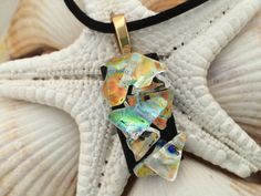 Orange Black and Gold  Dichroic Fused Glass Jewelry Pendant Necklace by RyanstonesFusedGlass