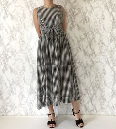 black and white gingham dress / bow dress / by minminvintage