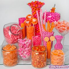 5 Tips for the Perfect Candy Buffet - Orange & Pink Display by CandyWarehouse - mazelmoments.com