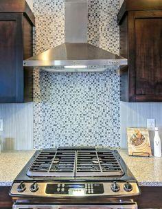 6 burner gas range with ceramic tile backsplash and vented hood Kitchen Hood Fan, Kitchen Reno, Diy Kitchen, Kitchen Remodel, Kitchen Ideas, Kitchen Design, Kitchen Appliances, Ceramic Tile Backsplash, Backsplash Ideas