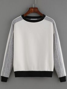 Sweat-shirt col rond color-block
