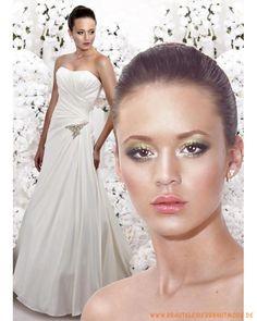 2013 maßgeschneidertes Brautkleid aus Satin und Chiffon schulterfreies gerafftes Korsett mit Schleppe