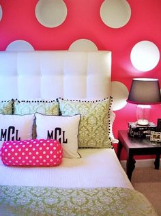 I would probably do this without the big white polka dots. cute with though. hot pink walls with white polka dots for teenager room idea