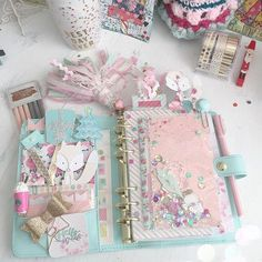 organiser & cute accessories(no pattern just colour, no colour preference, like the gold binder though) tkmax filofax Kawaii Planner, Cute Planner, Happy Planner, Planner Ideas, Diary Planner, Scrapbooking Agenda, Planner Stickers, Cute Stationery, Stationary