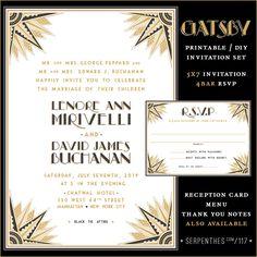 Items similar to GATSBY / Art Deco Wedding Invitation / Printable Digital File on Etsy Art Deco Wedding Invitations, Printable Wedding Invitations, Invitation Set, Old Hollywood Party, Baby Wedding, Gatsby, Rsvp, Stationery, Marriage