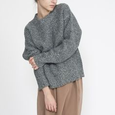 boxy drop shoulder grey sweater