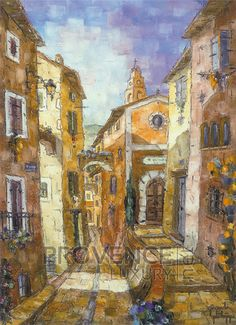 """Montée de la Chapelle (Ref/GIR028) by Philippe Giraudo - Reproduction 70 x 50 cm (19.75"""" x 27.60"""") - $ 24.99 Reproduction, Chapelle, French Riviera, French Artists, Painting, Painting Art, Paintings, Painted Canvas, Drawings"""