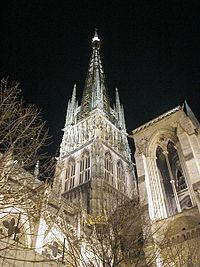 Rouen Cathedral is a Roman Catholic Gothic cathedral in Rouen, in northwestern France. It is the seat of the Archbishop of Rouen and Normandy.  Google Image Result for http://upload.wikimedia.org/wikipedia/commons/thumb/1/1e/Cathedrale_de_rouen.jpg/200px-Cathedrale_de_rouen.jpg