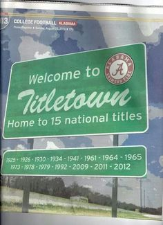 Welcome to Tuscaloosa, Alabama A Place Us Locals Call Titletown Home of the Alabama Crimson Tide, 15 National Titles & Counting!!! RTR!!!